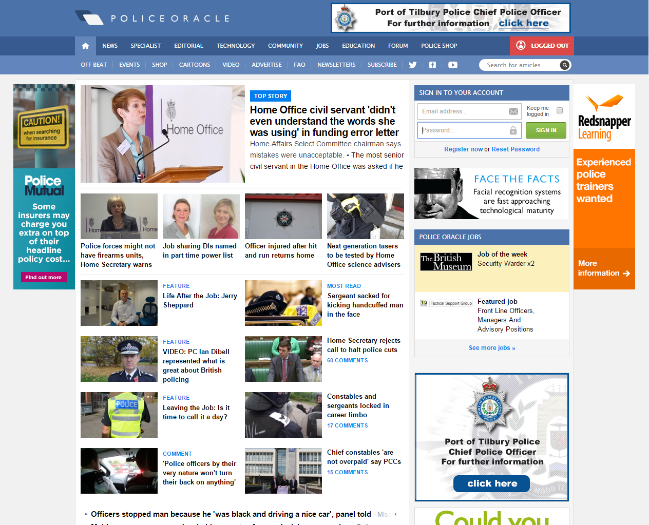 Police Oracle Home Page - GetSet Media Case Study