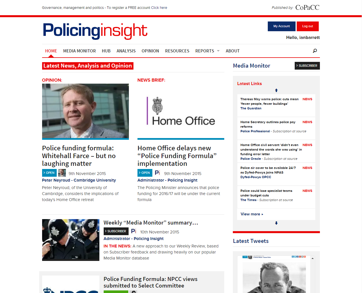 PolicingInsight Home Page - GetSet Media Case Study